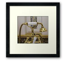 gold bathtub faucets and shower head Framed Print