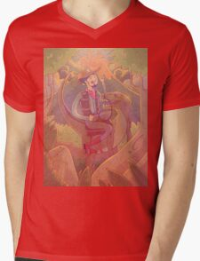 Raptor Cowboy Mens V-Neck T-Shirt