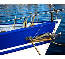 Blue Boat Bow Photographic Print