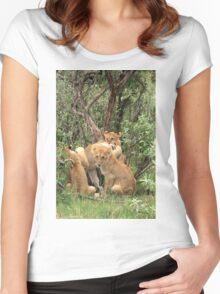 Masai Mara Lion Cubs Women's Fitted Scoop T-Shirt