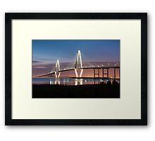 Charleston Arthur Ravenel Cooper River Bridge Sunset Landscape Framed Print