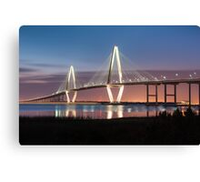 Charleston Arthur Ravenel Cooper River Bridge Sunset Landscape Canvas Print