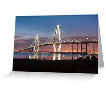 Charleston Arthur Ravenel Cooper River Bridge Sunset Landscape Greeting Card