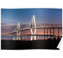 Charleston Arthur Ravenel Cooper River Bridge Sunset Landscape Poster