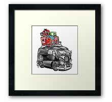 VW Type 2 Bus Split Screen Panel Cartoon Framed Print