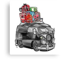 VW Type 2 Bus Split Screen Panel Cartoon Canvas Print