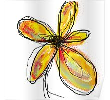 Yellow Butterfly Floral Poster