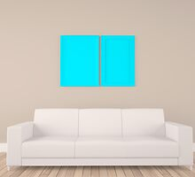 empty frame in room with sofa by thinkoddin