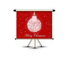 merry christmas decoration ball on isolated banner by thinkoddin