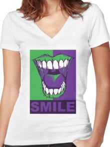 SMILE purple Women's Fitted V-Neck T-Shirt