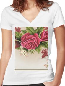 Roses Ornament on Vintage Frame Women's Fitted V-Neck T-Shirt