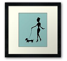 Flaunting The Pooch (teal) Framed Print