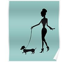 Flaunting The Pooch (teal) Poster
