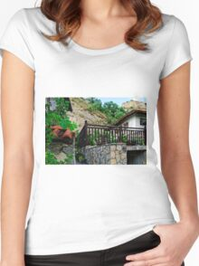 A country house in rural Bulgaria Women's Fitted Scoop T-Shirt
