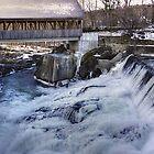 Quechee, Vt. covered bridge and dam by Nancy Richard