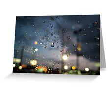 Rainy Night At A Stoplight Greeting Card