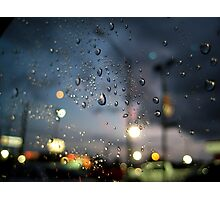 Rainy Night At A Stoplight Photographic Print