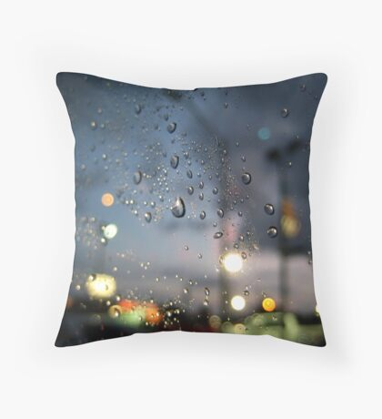 Rainy Night At A Stoplight Throw Pillow