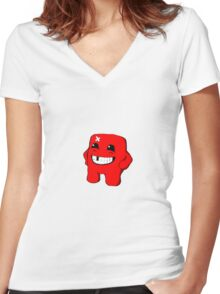 Super Meat Boy is Tough Women's Fitted V-Neck T-Shirt