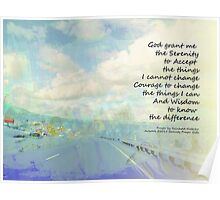 Serenity Prayer Clouds and Highway Poster