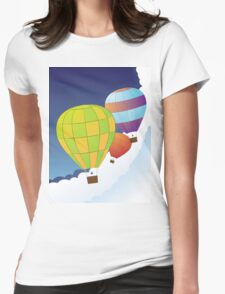 Air balloons in the sky Womens Fitted T-Shirt