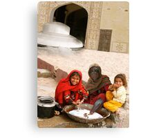 A friendly Little Vistor Has Come From Far Away to Make New little Pathani Friends Canvas Print