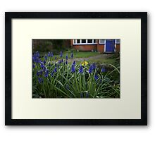 Blue Flowers, Blue Door Framed Print