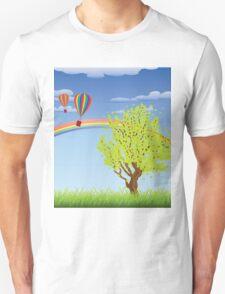 Hot air balloons over grass field 2 Unisex T-Shirt