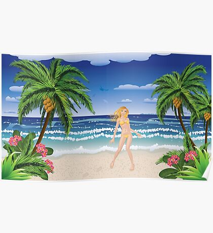 Blonde woman on beach Poster
