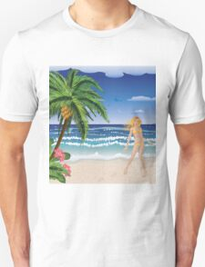 Blonde woman on beach T-Shirt