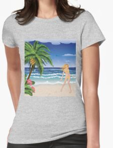 Blonde woman on beach Womens Fitted T-Shirt
