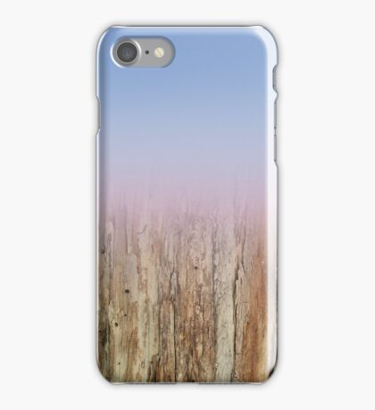 Blue and pink color with wood texture and fade away effect iPhone Case/Skin