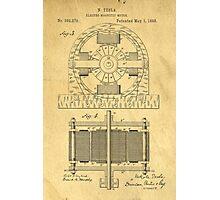 TESLA POSTER Electric Motor 1888 Patent  Photographic Print