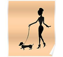 Flaunting The Pooch (peach) - Dachshund Sausage Dog Poster