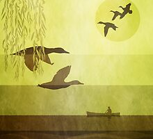 Ducks: Flying: Warm Gold by Steven House
