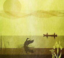 Ducks: Landing: Warm Gold by Steven House