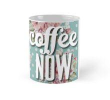 Vintage Floral Polka Dot Coffee Now Funny Design Mug