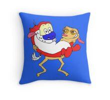 Retro Ren & Stimpy Tribute Throw Pillow