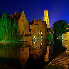 Brugges Canal and Belfry taken during the night in HDR by Suraj Mathew