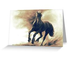 Black horse in storm - retouched pencil drawing Greeting Card