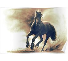 Black horse in storm - retouched pencil drawing Poster