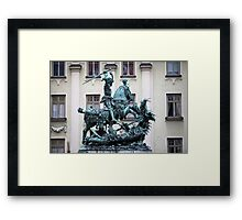 The statue of St. George and the Dragon Framed Print