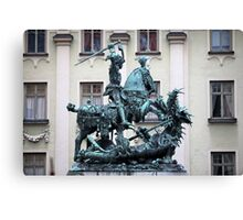 The statue of St. George and the Dragon Canvas Print