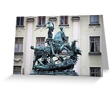 The statue of St. George and the Dragon Greeting Card