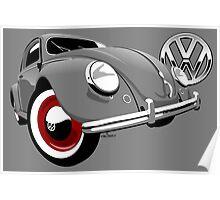 VW Beetle type 1 grey Poster