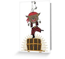 Pirate Happy Dance with Parrot Greeting Card