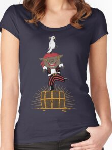 Pirate Happy Dance with Parrot Women's Fitted Scoop T-Shirt