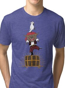 Pirate Happy Dance with Parrot Tri-blend T-Shirt