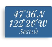 Seattle Coordinates Vintage White Canvas Print