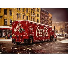 A Big Red Truck In The Barrio Photographic Print